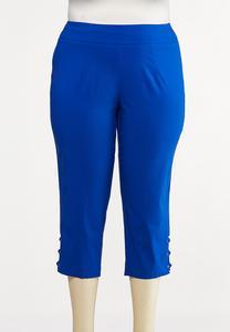 Plus Size Lattice Hem Cropped Pants