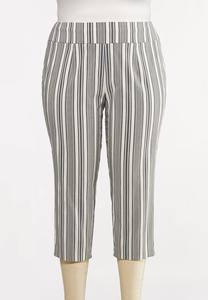 Plus Size Striped Cropped Pants