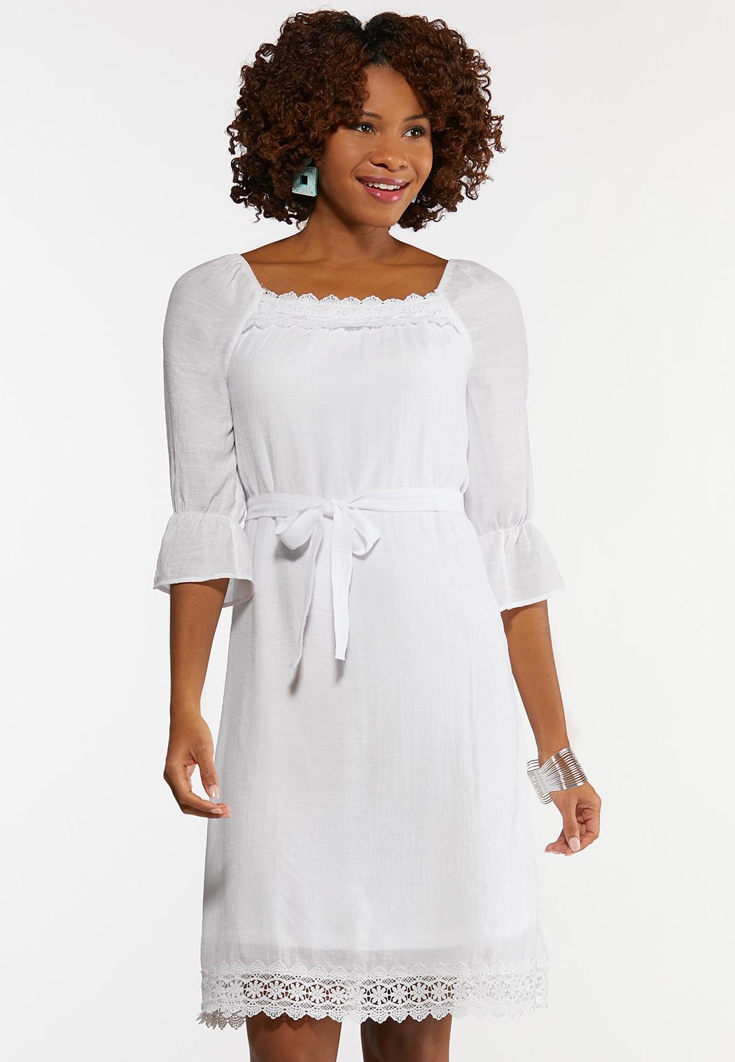 White Square Neck Peasant Dress