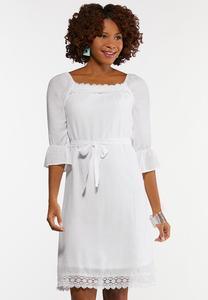 Plus Size White Square Neck Peasant Dress