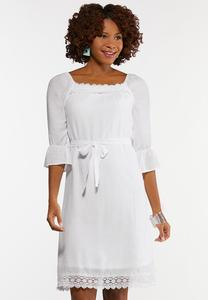 Plus Size White Square Neck Peasant Dress