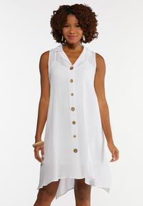 Plus Size White Gauze Shirt Dress