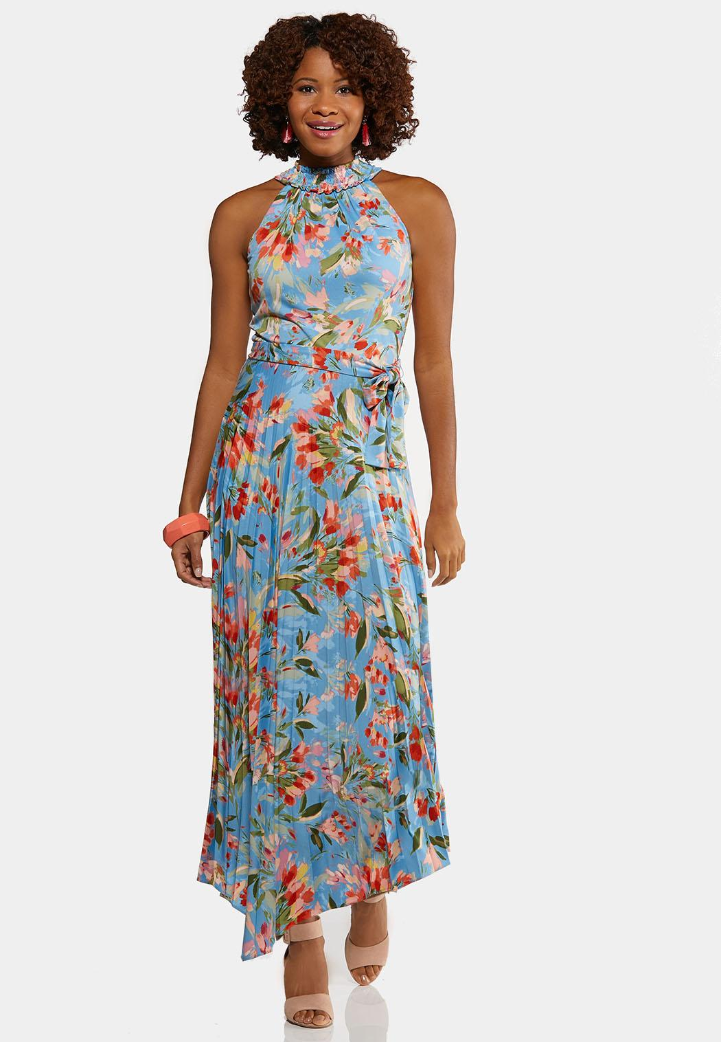 Plus Size Pleated Blue Floral Dress