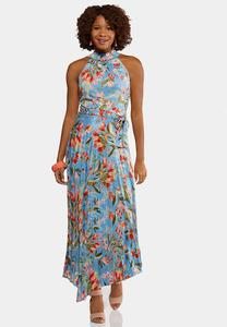 Plus Size Pleated Blue Floral Dress
