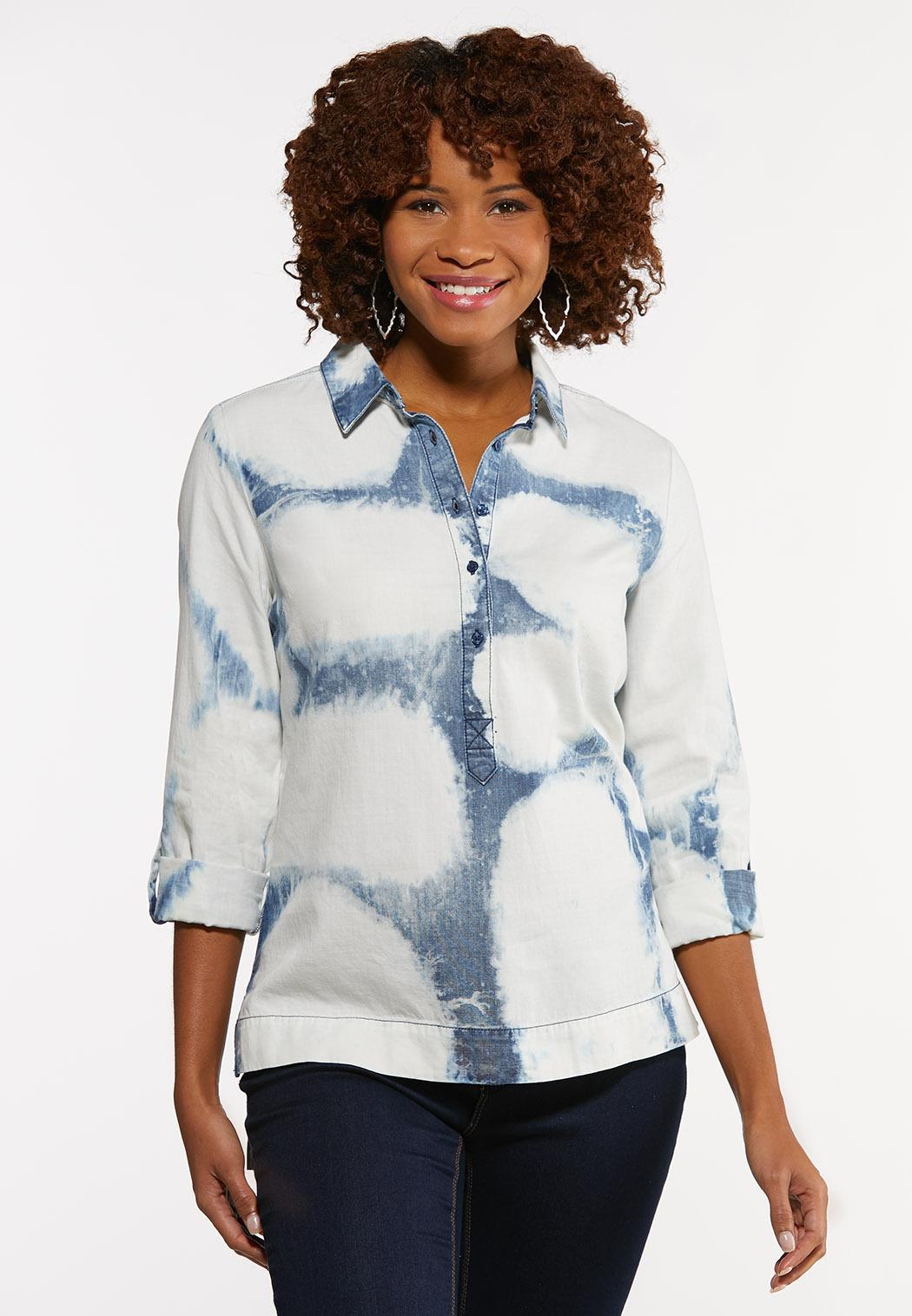 Plus Size Tie Dye Utility Shirt