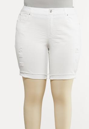 Plus Size White Distressed Shorts