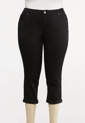 Plus Size Cropped Skinny Black Jeans