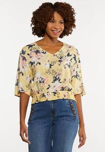 Plus Size Smocked Sunshine Floral Top