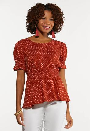Dotted Smocked Peplum Top