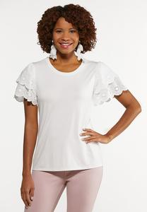Tiered Eyelet Sleeve Top