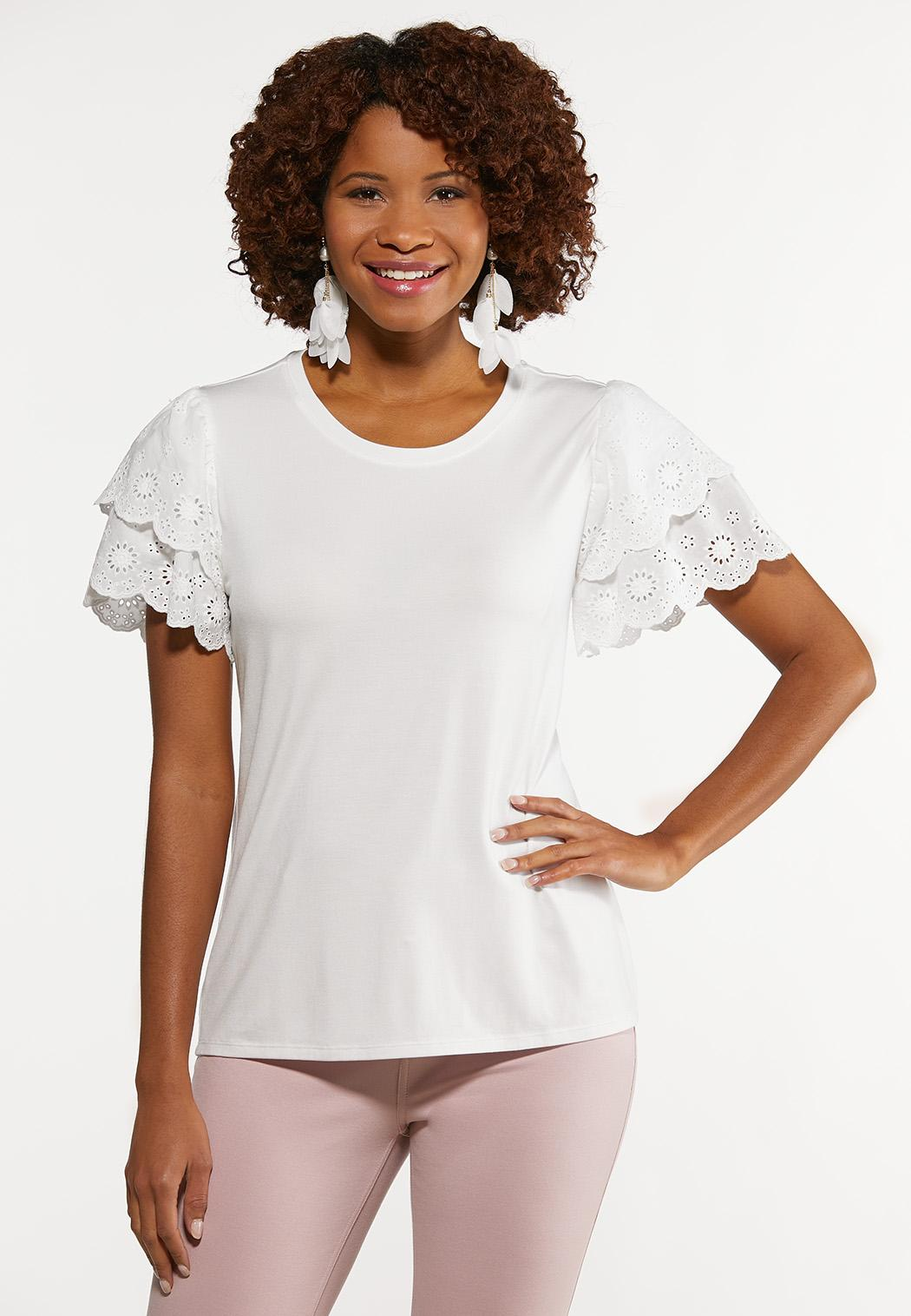 Plus Size Tiered Eyelet Sleeve Top