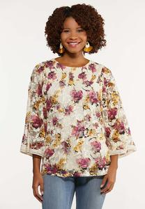 Plus Size Lacy Garden Party Top