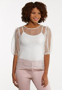 Plus Size Organza Dot Top
