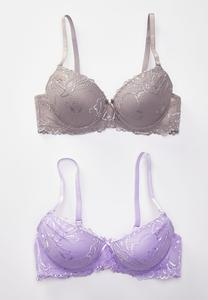 Plus Size Lavender Gray Bra Set