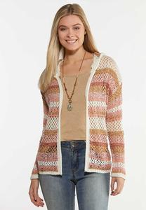 Plus Size Striped Pointelle Cardigan Sweater