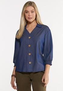Plus Size Dark Chambray Top