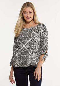 Plus Size Contrast Patchwork Print Top