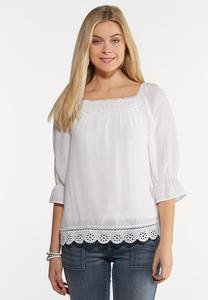 Plus Size White Lace Trim Poet Top
