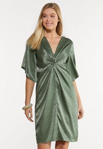 Twist Satin Kimono Dress