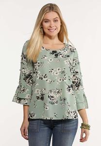 Plus Size Mint Floral Top