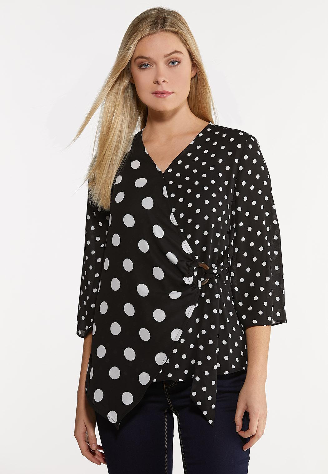 Plus Size Black And White Polka Dot Shirt