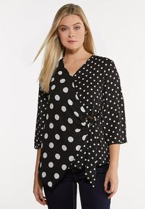 Plus Size Black And White Polka Dot Shirt