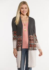 Plus Size Aztec Cardigan Sweater