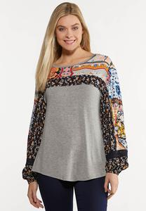 Mix Patchwork Print Top