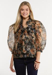 Plus Size Dark Floral Puff Sleeve Top