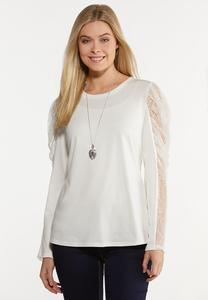 Plus Size Lacy Puff Sleeve Top