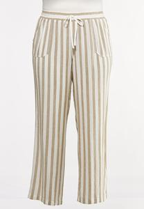 Plus Size Striped Linen Drawstring Pants