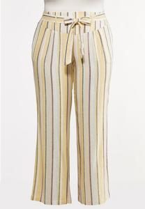 Plus Size Striped Wide Leg Linen Pants