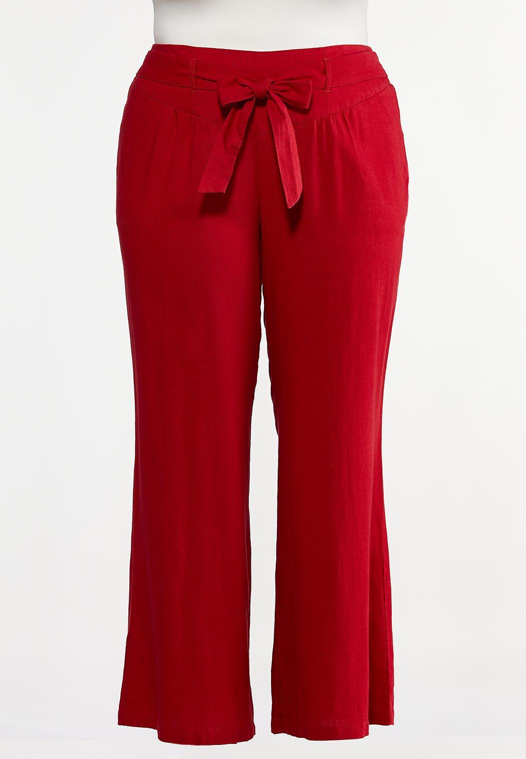Plus Size Red Linen Beach Pants
