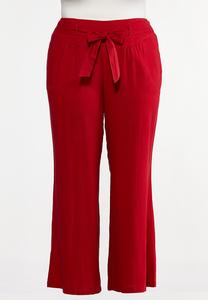 Plus Size Red Linen Beach Pants