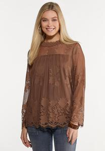 Plus Size Chocolate Lace Top