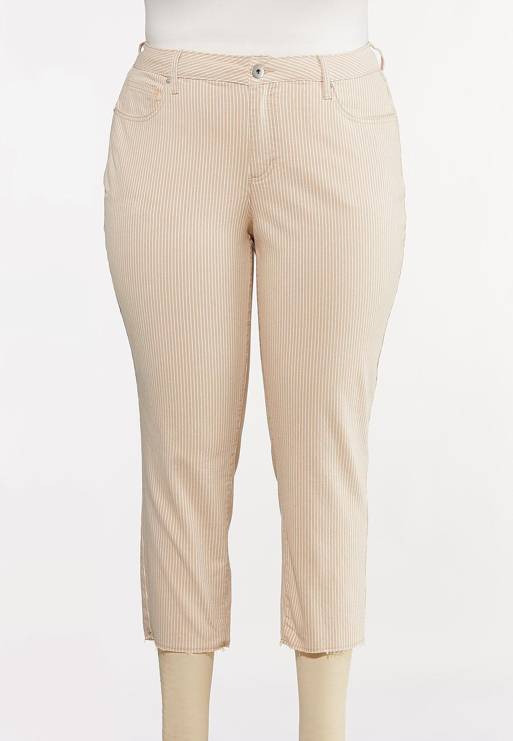 Plus Size Neutral Stripe Ankle Jeans