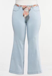 Plus Size Scarf Tie Jeans