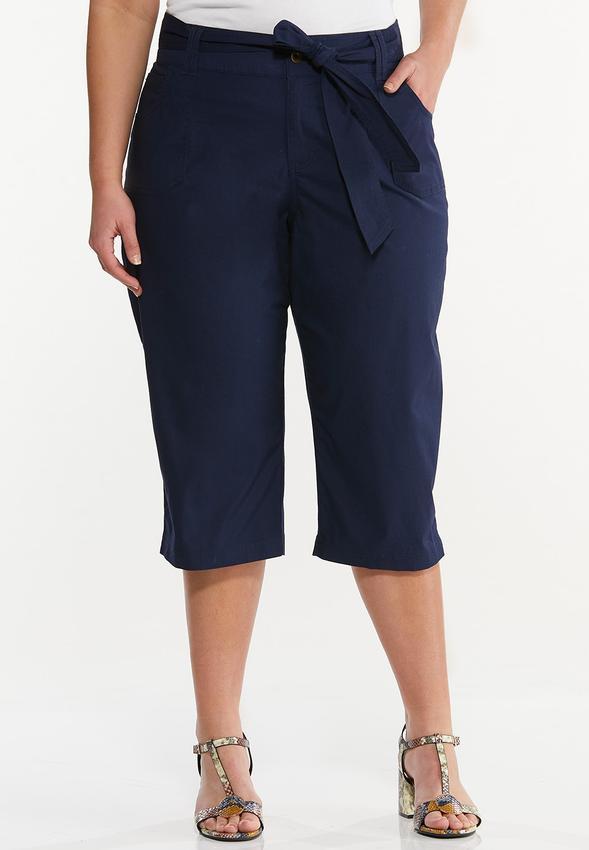 Plus Size Cropped Poplin Utility Pants