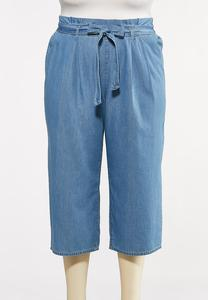 Plus Size Cropped Paperbag Chambray Pants
