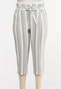 Plus Size Olive Stripe Linen Pants