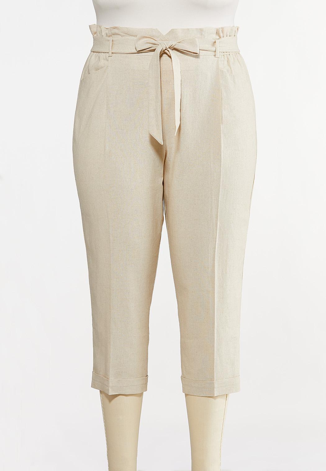 Plus Size Linen Paperbag Waist Pants