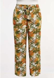 Plus Size Tropical Floral Gauze Pants