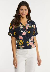 Navy Floral Faux Wrap Top