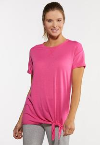 Plus Size Tie Front Active Top