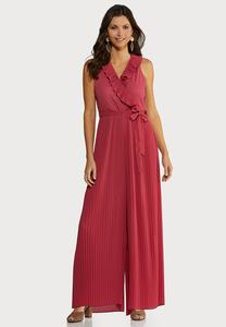 Petite Ruffly Pleated Jumpsuit