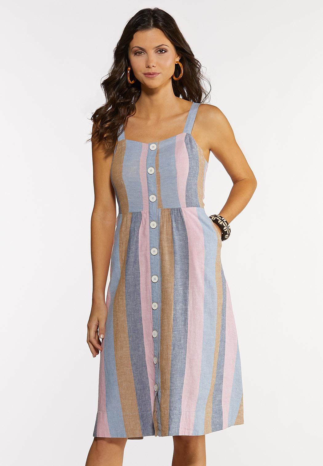 Stripe Button Linen Dress