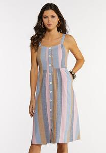 Stripe Button Linen Dress
