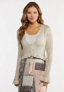 Pointelle Tie Front Cardigan Sweater