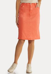 Plus Size Coral Denim Skirt