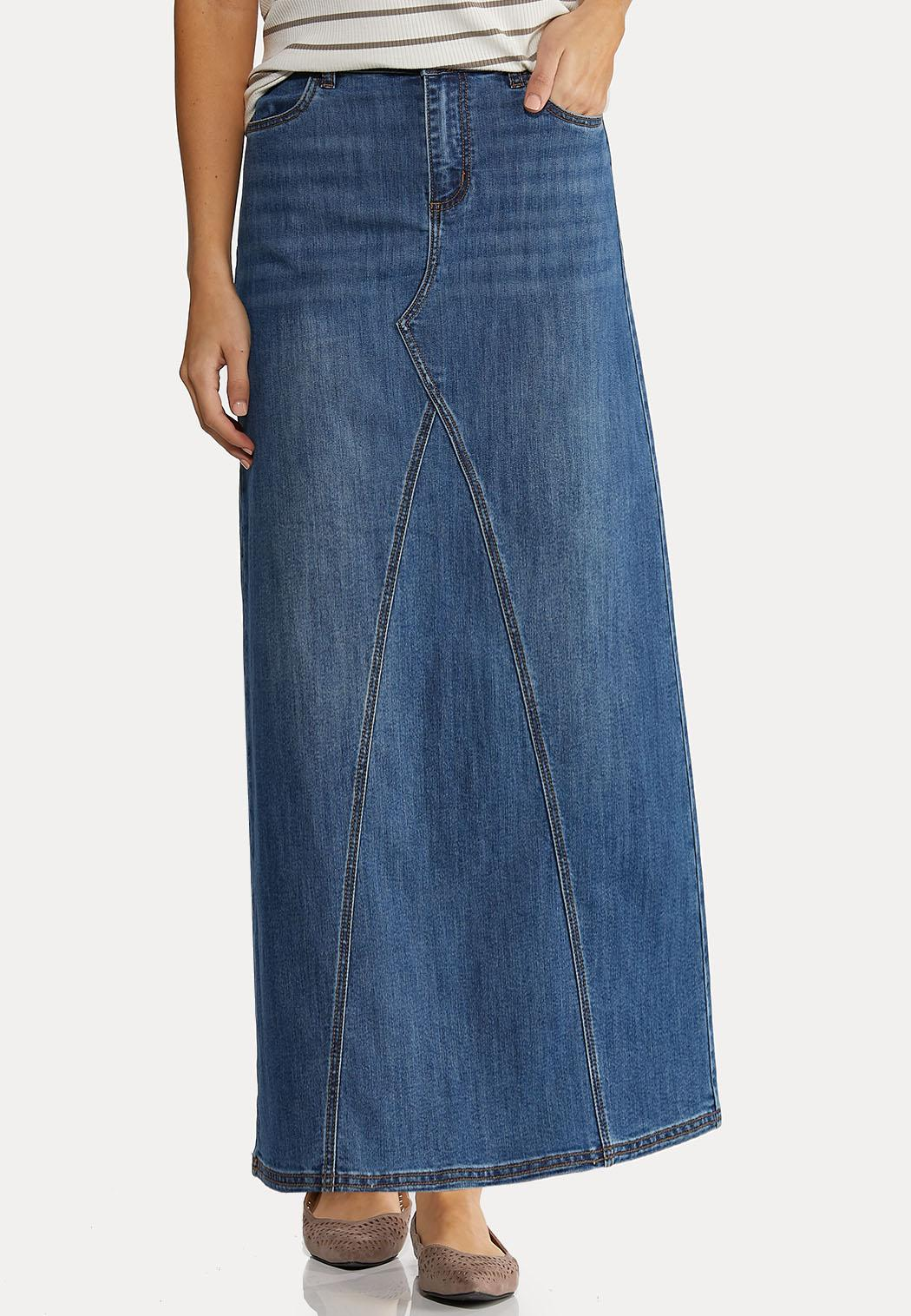 Plus Size Seamed Denim Maxi Skirt